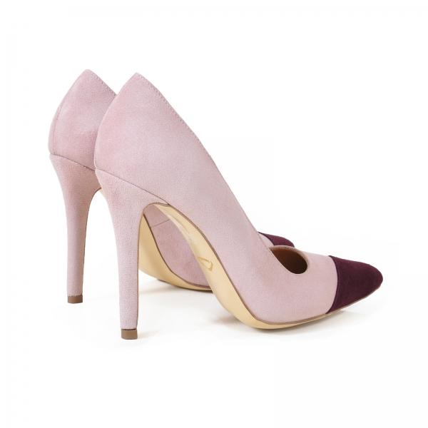 Pantofi stiletto din piele intoarsa roz si visinie 2