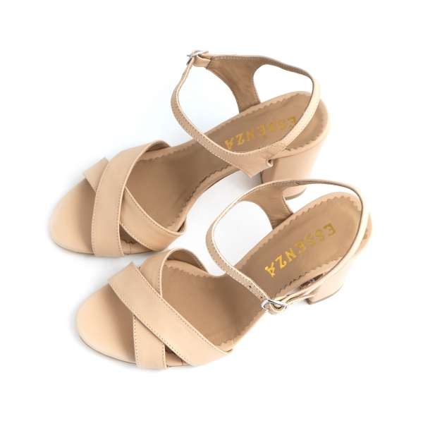 Sandale din piele naturala nude, cu toc patrat 2
