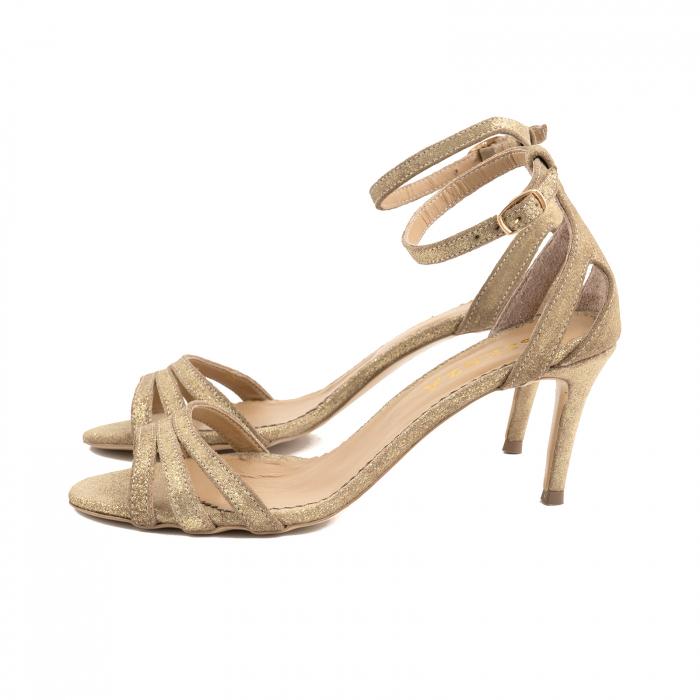 Sandale din piele glitter aurie 1