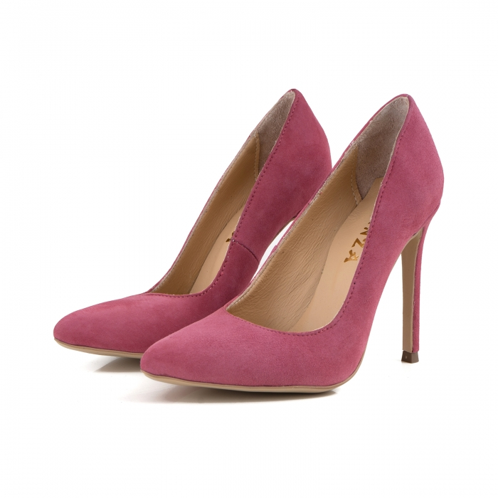 Pantofi Stiletto din piele intoarsa roz 1