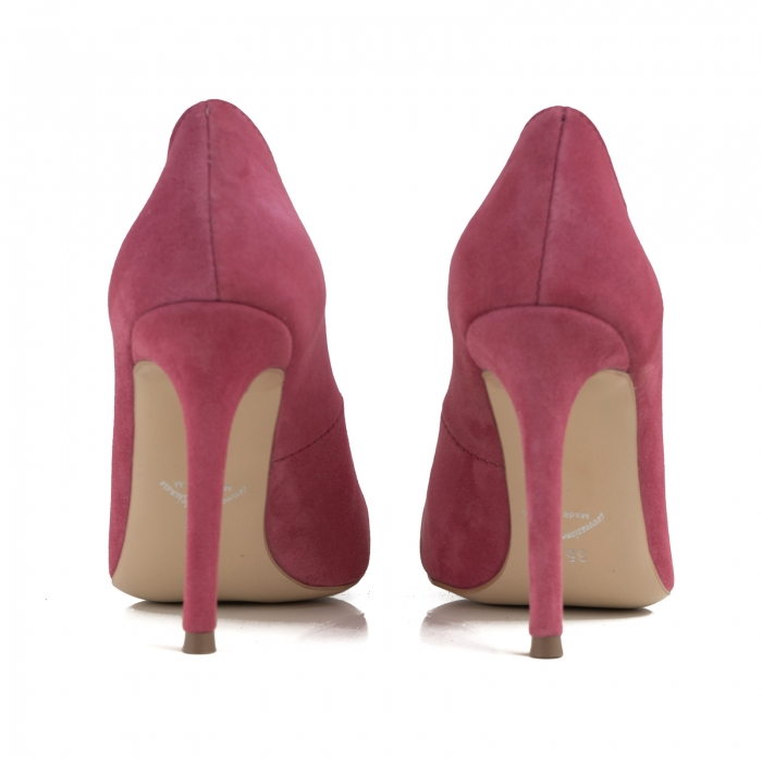 Pantofi Stiletto din piele intoarsa roz 3
