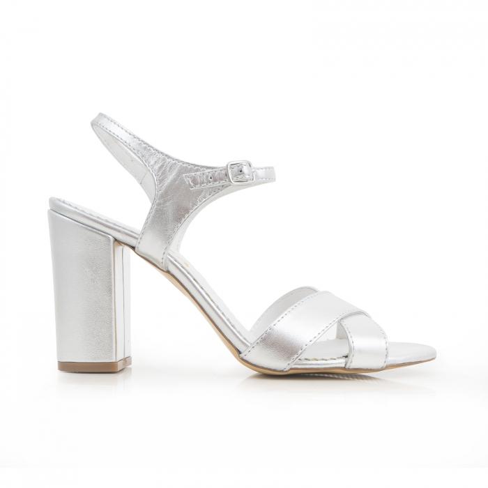 Sandale cu toc gros, din piele naturala argintie 0
