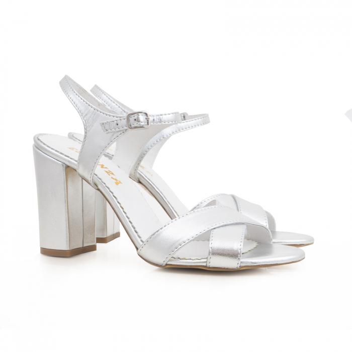 Sandale cu toc gros, din piele naturala argintie 1