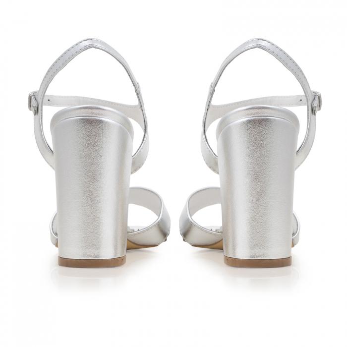Sandale cu toc gros, din piele naturala argintie 3