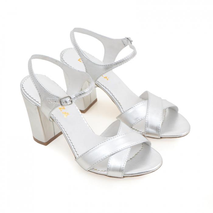 Sandale cu toc gros, din piele naturala argintie 2