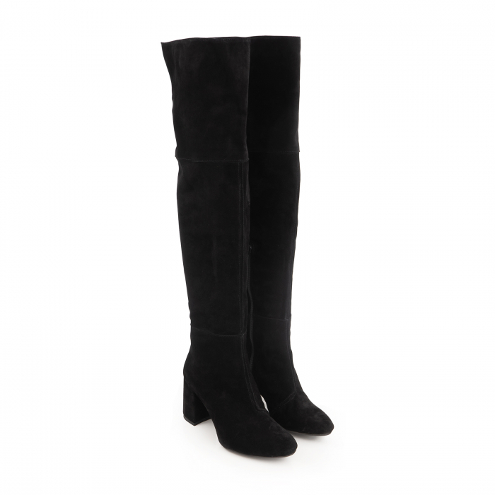 Cizme peste genunchi, din piele intoarsa neagra cu toc de 7cm 2