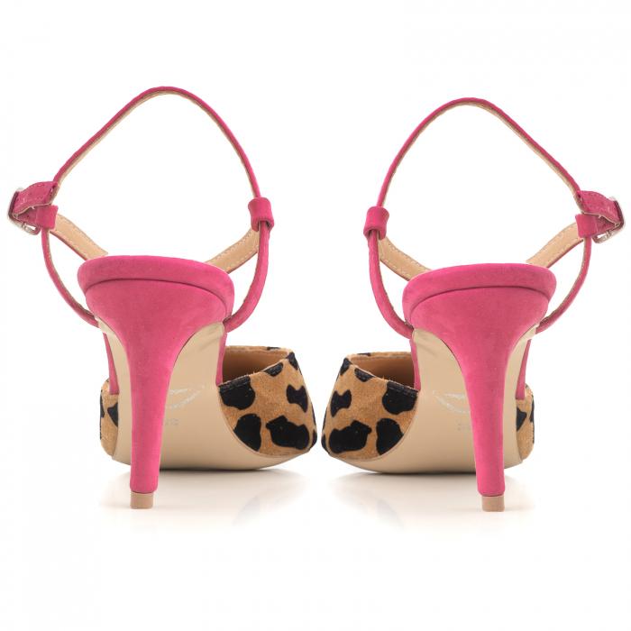 Pantofi stiletto cu barete de sustinere la calacai, din piele inaturala nabuc roz si leopard 3