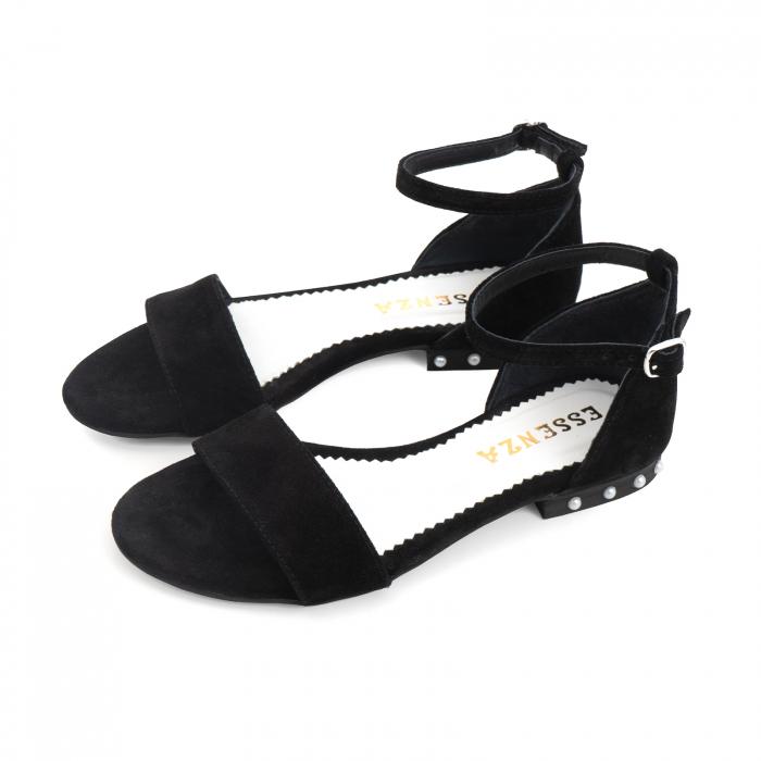Sandale din piele naturala intoarsa neagra, cu perle albe aplicate pe toc 1