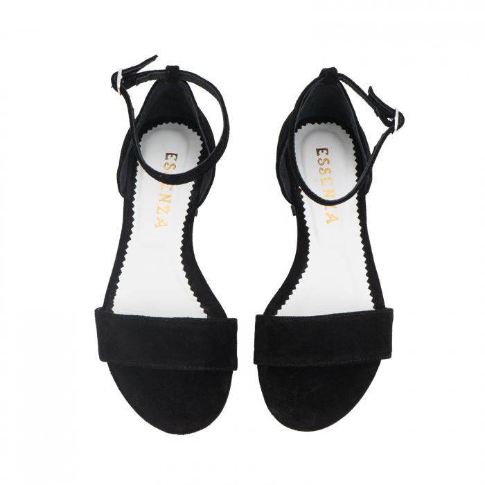 Sandale din piele naturala intoarsa neagra, cu perle albe aplicate pe toc 2