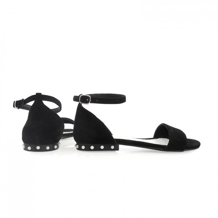 Sandale din piele naturala intoarsa neagra, cu perle albe aplicate pe toc 3