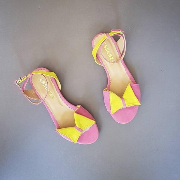 Sandale cu talpă joasă, din piele intoarsă camoscio roz si galbenă 0