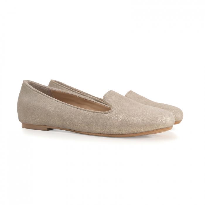 Pantofi confortabili si foarte usori, relizati din piele naturala bej aurie 1