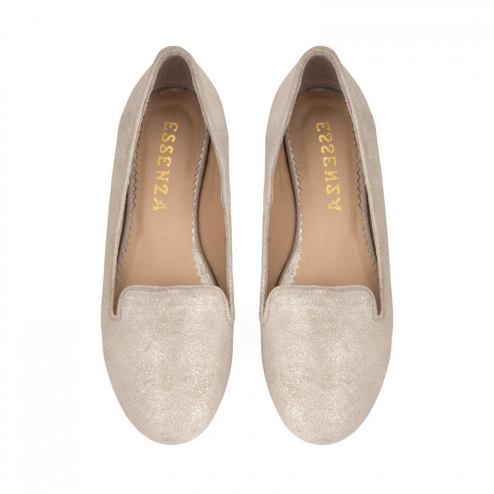 Pantofi confortabili si foarte usori, relizati din piele naturala bej aurie 2