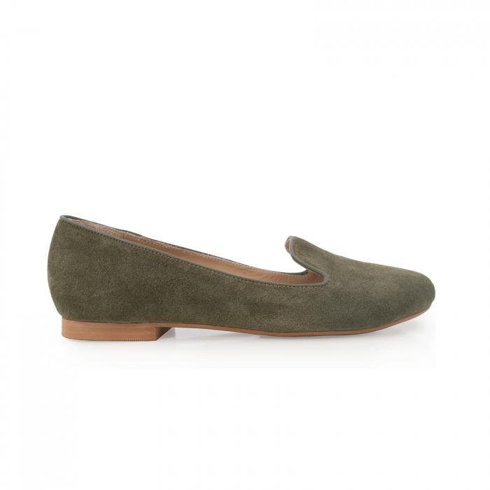 Pantofi confortabili si foarte usori, relizati din piele naturala intoarsa kaki 0