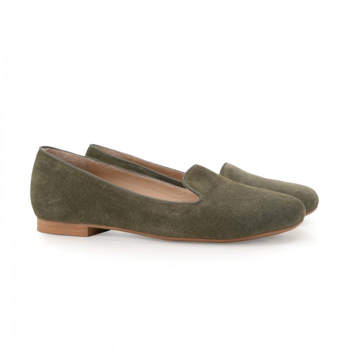 Pantofi confortabili si foarte usori, relizati din piele naturala intoarsa kaki 1
