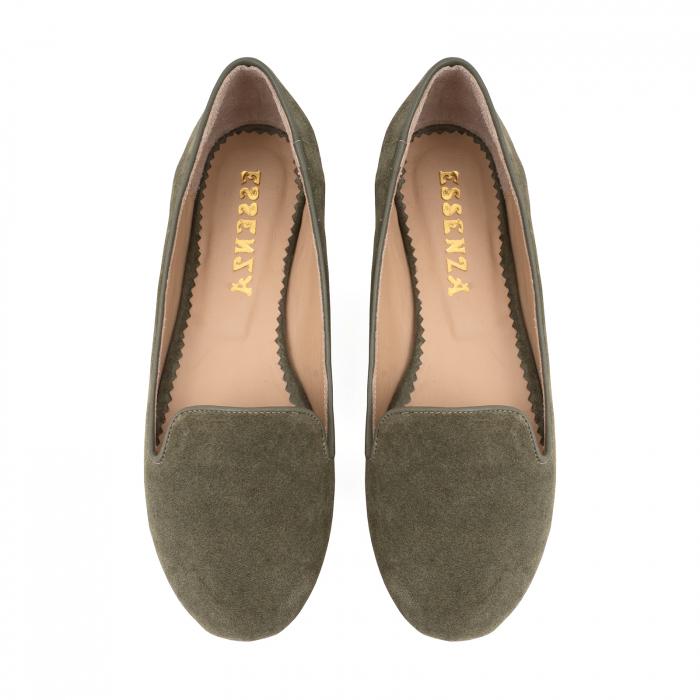Pantofi confortabili si foarte usori, relizati din piele naturala intoarsa kaki 2