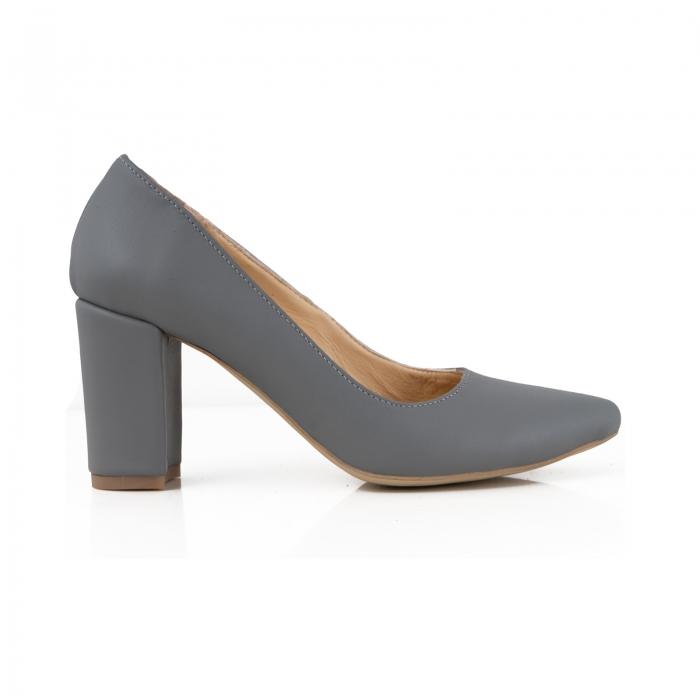 Pantofi cu toc patrat, din piele naturala gri 0