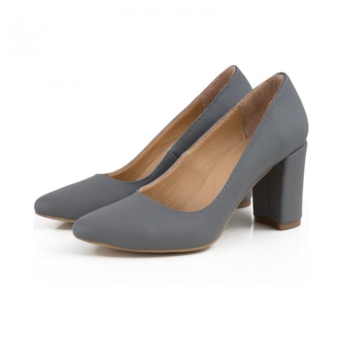 Pantofi cu toc patrat, din piele naturala gri 1
