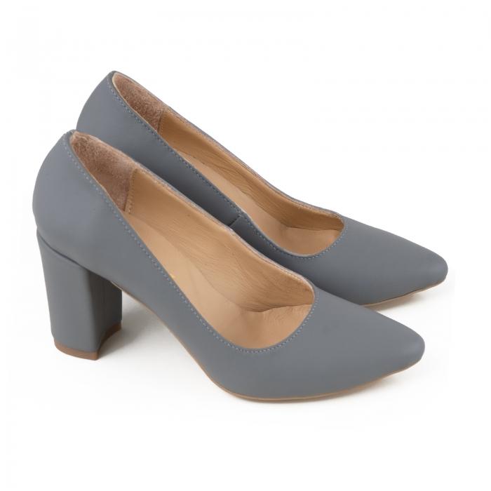 Pantofi cu toc patrat, din piele naturala gri 2