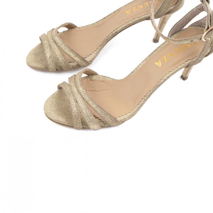 Sandale din piele glitter aurie 2
