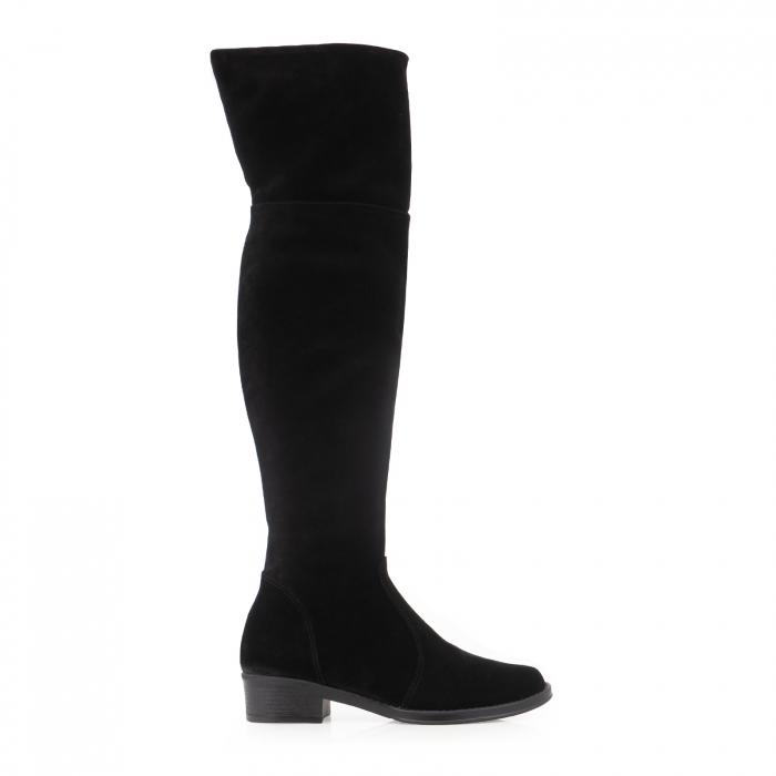 Cuizme peste genunchi, din piele intoarsa neagra si talpa joasa 0