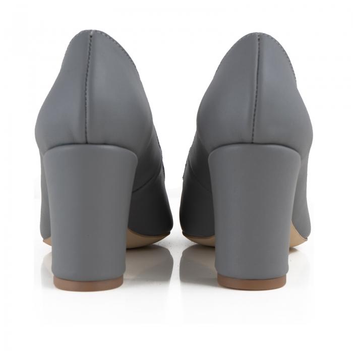 Pantofi cu toc patrat, din piele naturala gri 3