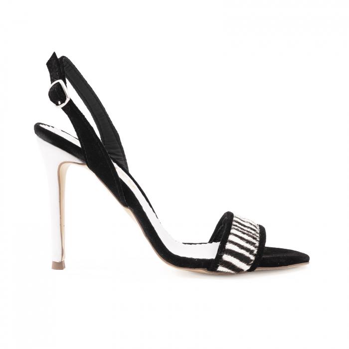 Sandale elegante din piele intoarsa neagra si animal print. 0