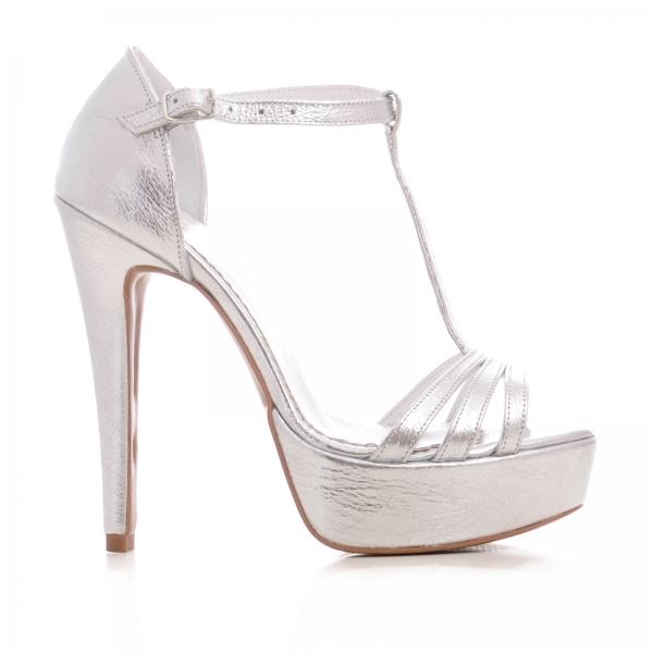 Sandale argintii, cu platforma 0
