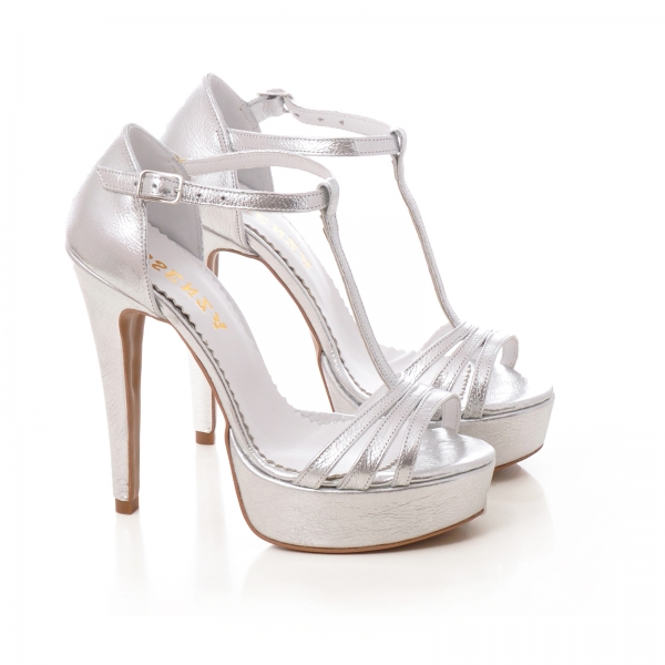 Sandale argintii, cu platforma 1