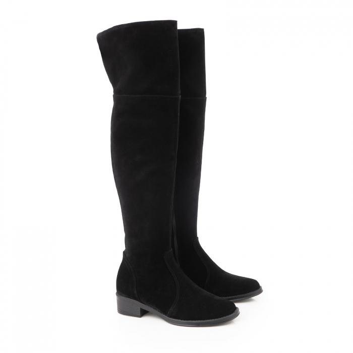 Cuizme peste genunchi, din piele intoarsa neagra si talpa joasa 1