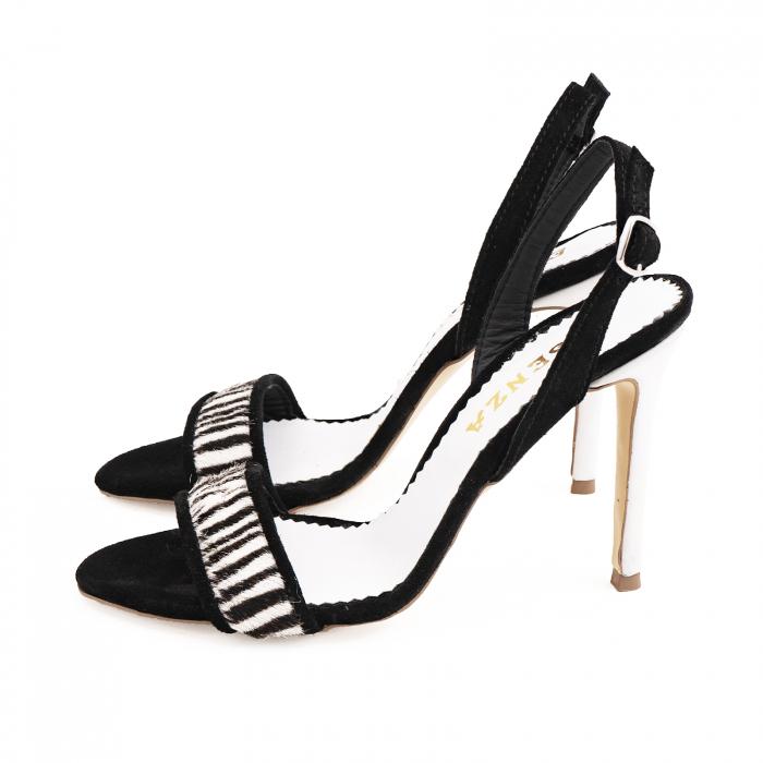 Sandale elegante din piele intoarsa neagra si animal print. 1