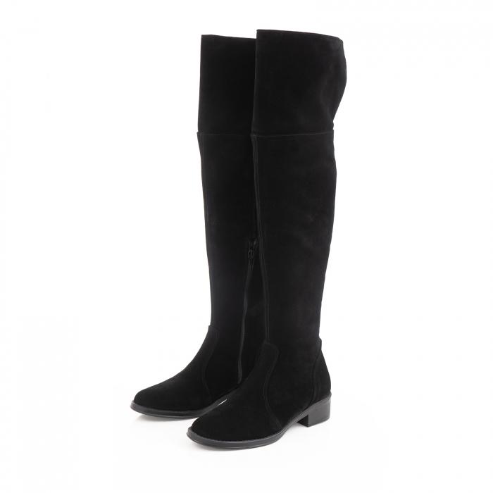 Cuizme peste genunchi, din piele intoarsa neagra si talpa joasa 2