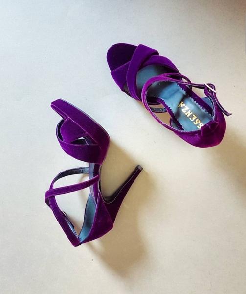 Sandale din catifea mov [0]