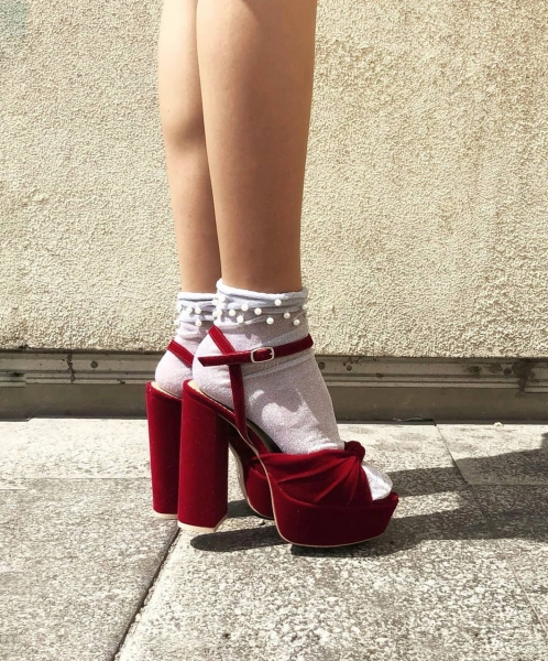 Sandale din catifea rosie, cu nod, platforma si toc patrat 0