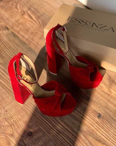 Sandale din catifea rosie, cu toc gros patrat si platforma 0