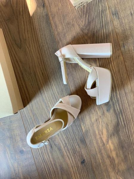 Sandale din catifea roz pal, cu captusala din piele naturala [0]