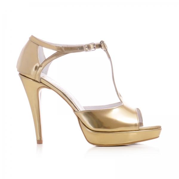 Sandale cu fundita, din piele aurie lacuita 0