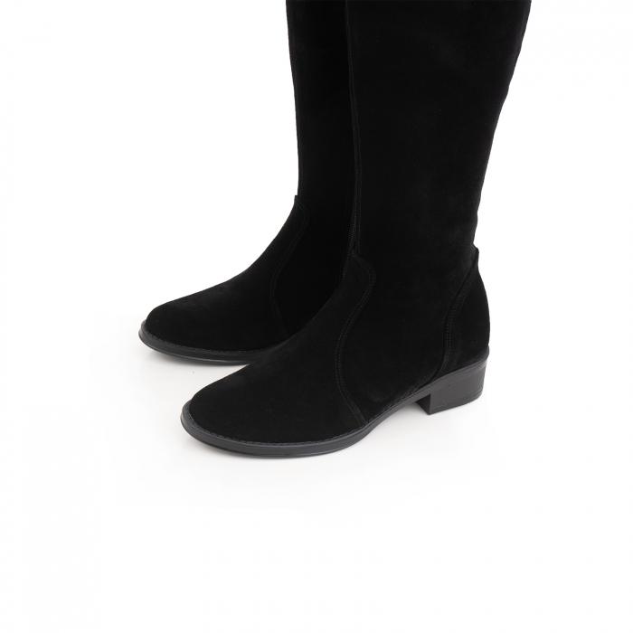 Cuizme peste genunchi, din piele intoarsa neagra si talpa joasa 3