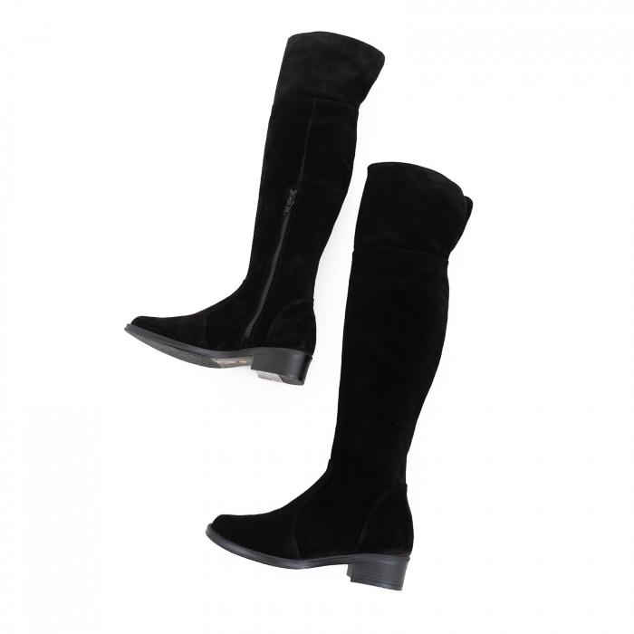 Cuizme peste genunchi, din piele intoarsa neagra si talpa joasa 4
