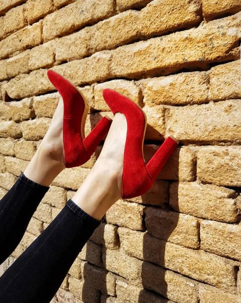 Pantofi din piele intoarsa rosie, cu toc gros 0