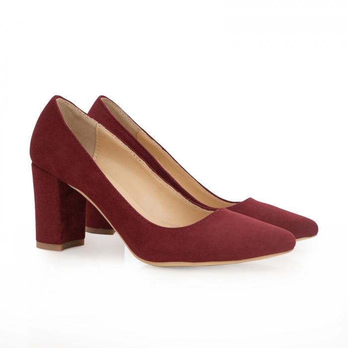 Pantofi cu toc patrat, din piele naturala intoarsa, rosu-burgund 1