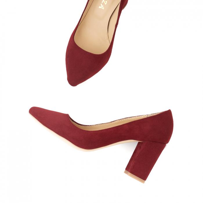 Pantofi cu toc patrat, din piele naturala intoarsa, rosu-burgund 2