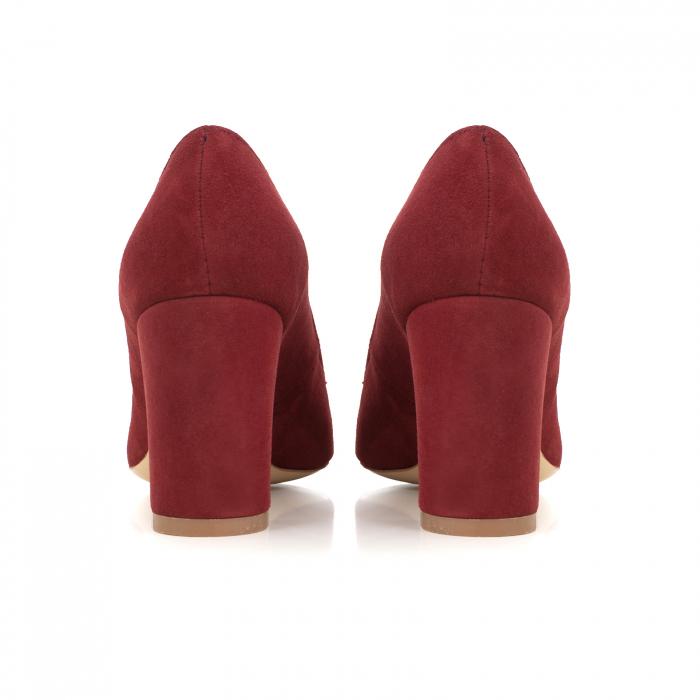 Pantofi cu toc patrat, din piele naturala intoarsa, rosu-burgund 3