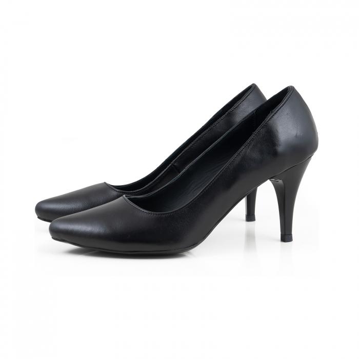 Pantofi stiletto din piele naturala neagra 1