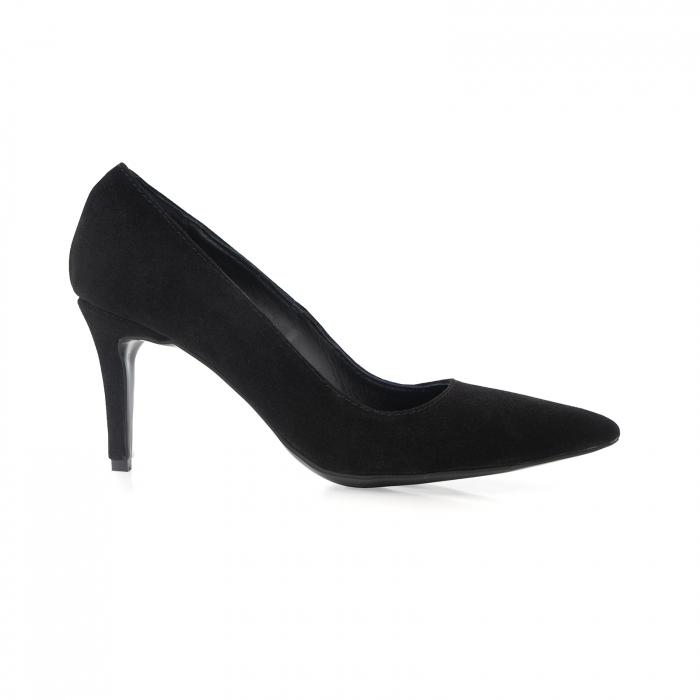 Pantofi stiletto din piele naturala intoarsa, neagra, cu toc de 7 [0]