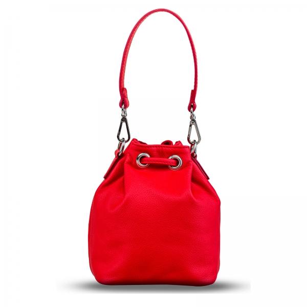 Poseta Kristy mini bucket  din piele naturala rosie 3