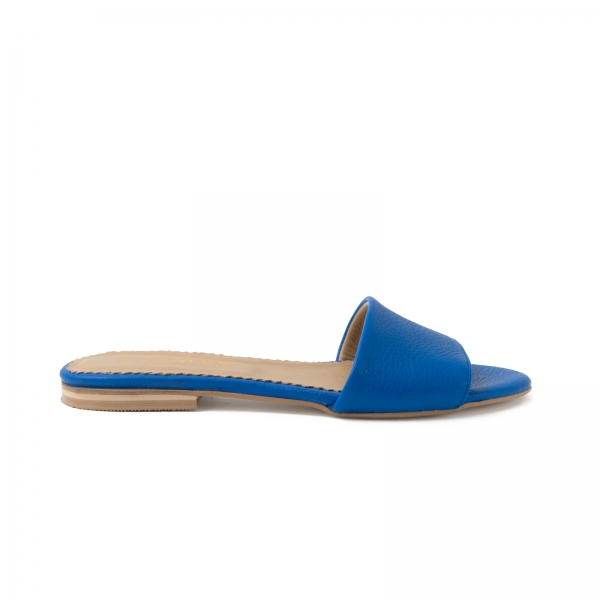Flip flops din piele naturala albastru cobalt. 0