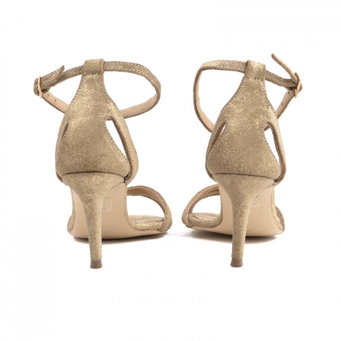 Sandale din piele glitter aurie 3