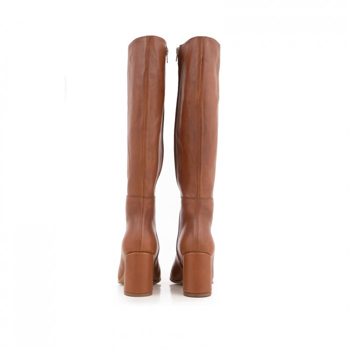 Cizme din piele naturala coniac, cu toc de 7cm 3