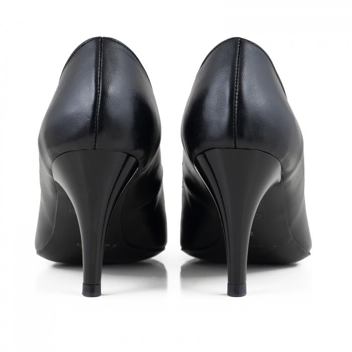 Pantofi stiletto din piele naturala neagra 2